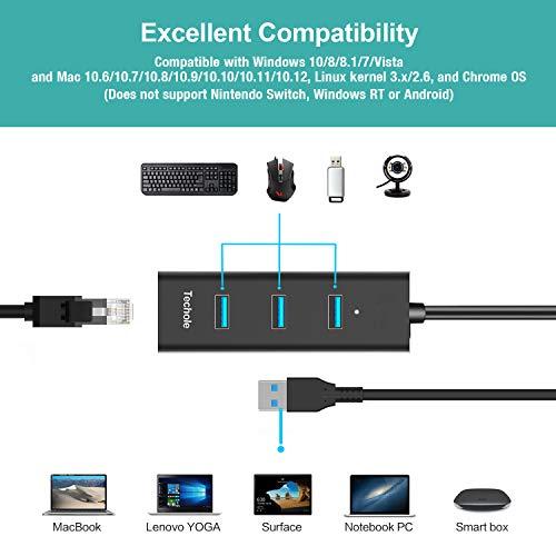USB 3.0 Hub, Techole Aluminium 3 Ports USB Hub mit RJ45 Gigabit Ethernet LAN Netzwerkadapter, USB C Adapter für Mac Chromebook Windows Laptops Ultrabooks PC und Weitere Geräte (Schwarz)