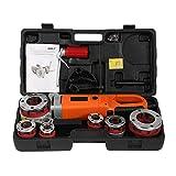 【𝐏𝐚𝐬𝐜𝐮𝐚】 Enhebrador de tubos eléctrico, máquina de roscado portátil portátil de roscadora de tubos con 6 dados(EU plug)
