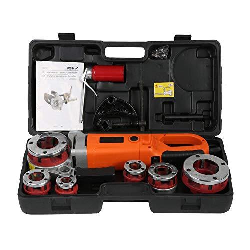 Enhebrador de Tubos eléctrico, máquina de roscado portátil portátil de roscadora de Tubos con 6 Dados(EU Plug)