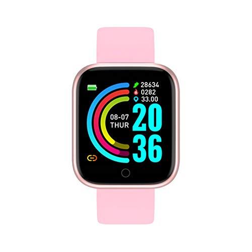 XXY Smart Watch Hombres Impermeable Bluetooth Presión Arterial Fitness Tracker Monitor De Ritmo Cardíaco SmartWatch para iOS Android (Color : Pink, Size : Plastic Box)