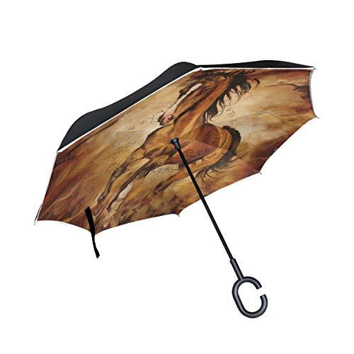 Wamika Regenschirm, Motiv: Schokoladenpferd, umgekehrt, doppelschichtig, Winddicht, selbststehend, UV-Schutz, Nicht automatisch, groß, gerade, auf der Kopfseite, C-förmiger Griff für C