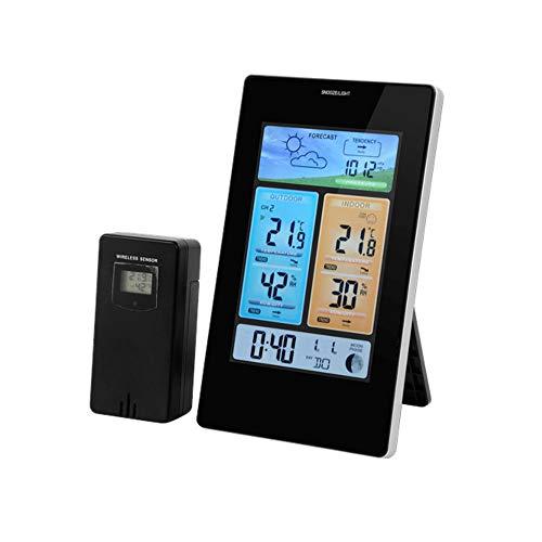 DRULINE Weerstation radio met buitensensor digitale thermometer 7 talen LCD-scherm