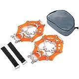 Hielo Nieve Apretones De Calzado Pinzas De Tracción Grapas De Crampones con 19 Picos De Orange para La Escalada Senderismo sobre Nieve Y Hielo (XL) Suministro Al Aire Libre