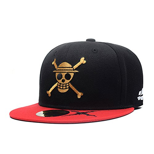 Quanhaigou Anime One Piece Character Cosplay Snapback Hat, Skull Skeleton Baseball Cap, One Piece Black, One Size