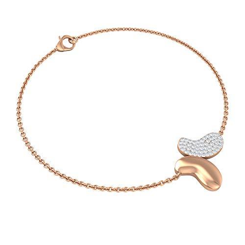 1/4CT Diamond Cluster Bracelet, Gold Engraved Butterfly Bracelet, Gold Chain Adjustable Bracelet, Charm Bracelet for Women, Anniversary Party Bracelet, 14K Rose Gold 6 Inches