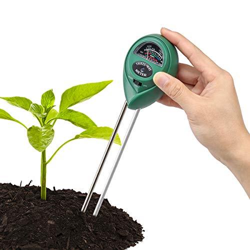 HooAMI 3-in-1 bodemtester vochtmeter licht en pH-zuurtester digitale grondmeter voor tuin planten 26cmx6cmx3.8cm