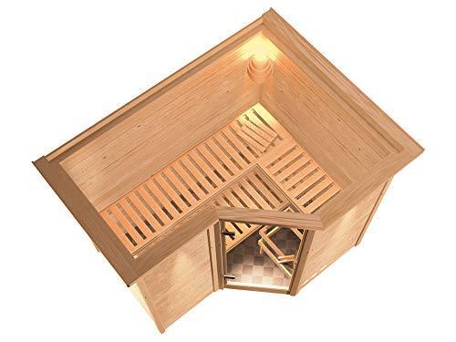 SAUNELLA Sauna mit Ofen | Gartensauna - Saunakabine Maße: 264 x 198 x 212 cm | Saunaofen Komplett Sauna Zubehör | Bio- Kombi-Ofen mit ext. Steuerung