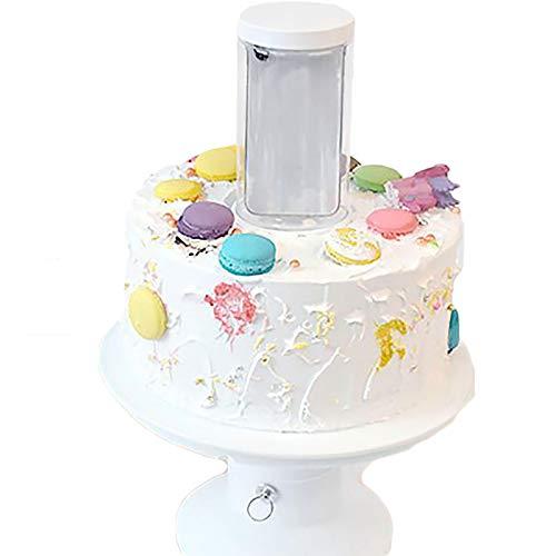 2 en 1 Surprise Cake Soporte para Tarta, Sorpresa en El Interior del Pastel, Porta Pastel de Feliz Cumpleaños,Estante para Pastel, Herramienta de Tortas de Gatillo Popping 8 Pulgadas