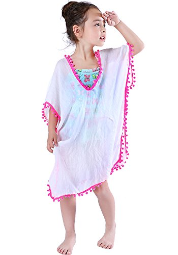 MissShorthair Fashion Girls' Cover-ups Swimsuit Wraps Beach Dress Top with Pompom Tassel (91White, One Size)