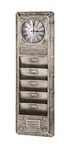 Haku Memoboard mit integrierter Uhr und 5 Ablagen für Zeitschriften; Maße (B/T/H) in cm: 38x8x120