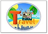 Imán para nevera con texto de viaje y maleta para viajes, ciudad, mar, resort, hojas de palma