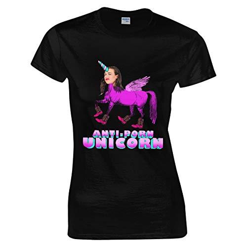 Damen Miranda-Sings Anti-Porn Unicorn Tee Shirts Bekleidung T Shirt Kurzärmlig Rundhalsausschnitt Black M T-Shirt Für Frauen