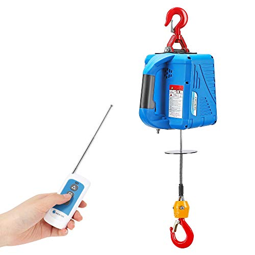 NEWTRY 1100lbs Electric Hoist Winch with Wireless Remote Control 110/120 Volt Portable Power Electric Hoist 16ft/min