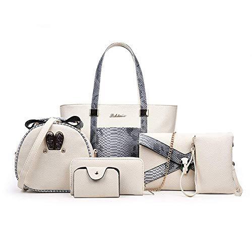 gao Fashion Snakeskin Handbags Women's Handbags Shoulder Slung Bun Mother Bag Six-Piece Large Bucket BagBlack,C