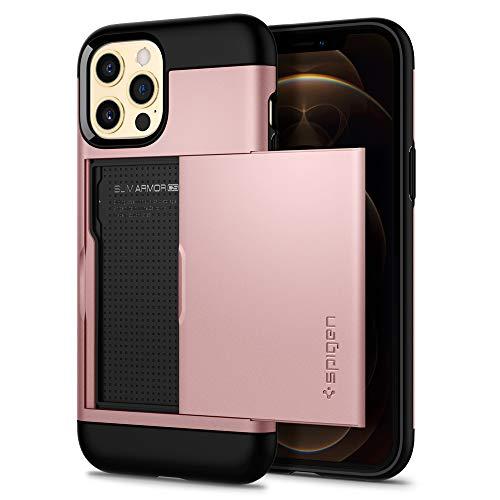 Spigen Slim Armor CS Hülle Kompatibel mit iPhone 12 Pro & Kompatibel mit iPhone 12 -Rose Gold