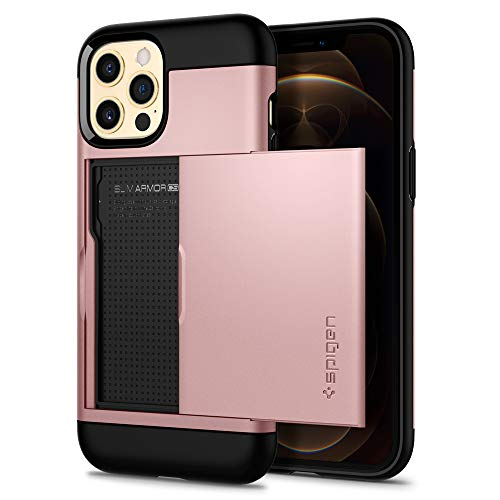 Spigen Funda Slim Armor CS Compatible con iPhone 12 Compatible con iPhone 12 Pro - Oro Rosa