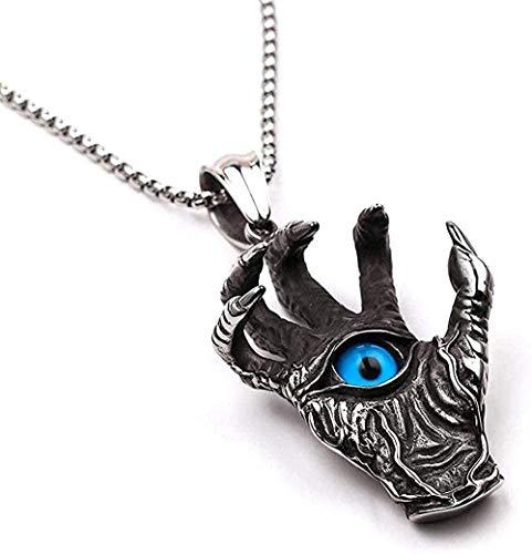 Collar para hombres, mujeres, nuevo, retro, punk, malvado, garra, collar, dragón, demonio, mano, ojo azul, colgantes y collares, hombres góticos, accesorios de joyería fresca, regalos, collar colgante