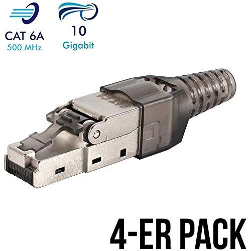 VESVITO 4X Netzwerkstecker RJ45 CAT 6A, werkzeugfrei, bis 10 Gigabit Ethernet, kompatibel mit CAT7A CAT7 Netzwerkkabel, geschirmt, Crimpstecker, Stecker für Verlegekabel Datenkabel Installationskabel