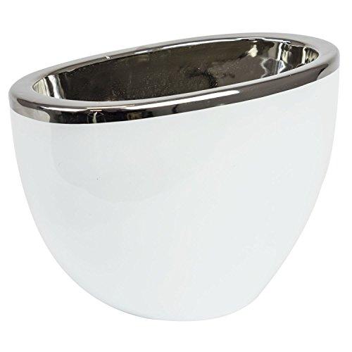 Keramische pot H 18 cm zilver-wit glanzend moderne decoratieve ovase Moon bloempot