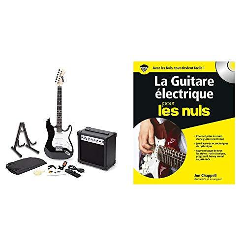 Rockjam E-Gitarren-Superkit in voller Größe mit Gitarrentuner-Verstärker, Gitarrenkoffer, Gitarrengurt und schwarzem Kabel und E-Gitarre für Dummies (+1 CD)