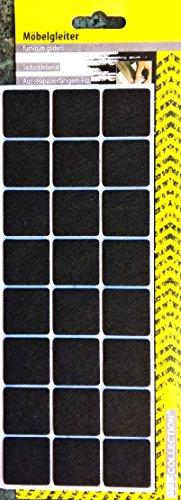 24 quadratische Filz-Möbelgleiter 28 x 28 mm - selbstklebend - schwarz