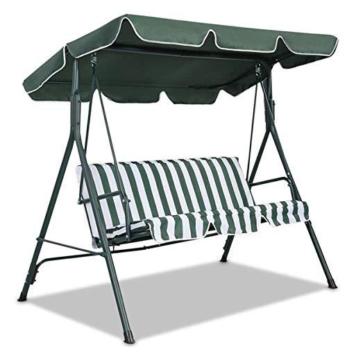 Dimensioni posti a sedere all'aperto giardino patio altalena parasole copertura baldacchino sedile copertura superiore cortile impermeabile altalena parasole - verde scuro tre posti 190x132x15 cm