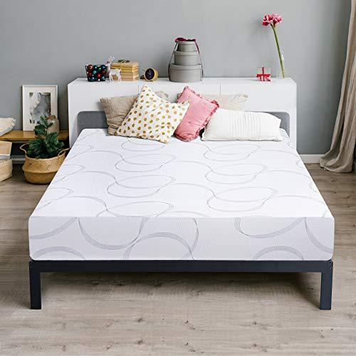 Olee Sleep 9 Inch Multi-Layered I-Gel Infused Memory Foam Mattress, Queen, White