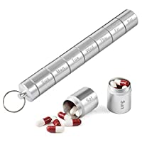 Canan携帯用薬箱、メタルポケット薬箱、トラベルコインボックスキーホルダー、7コンパートメント防水男女用毎日薬箱コンテナラック