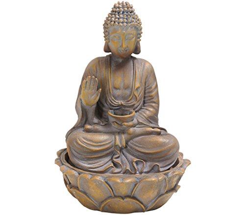 Dehner Zimmerbrunnen Buddha, ca. 32.3 x 25.5 x 25.5 cm, Polyresin, grau/gold