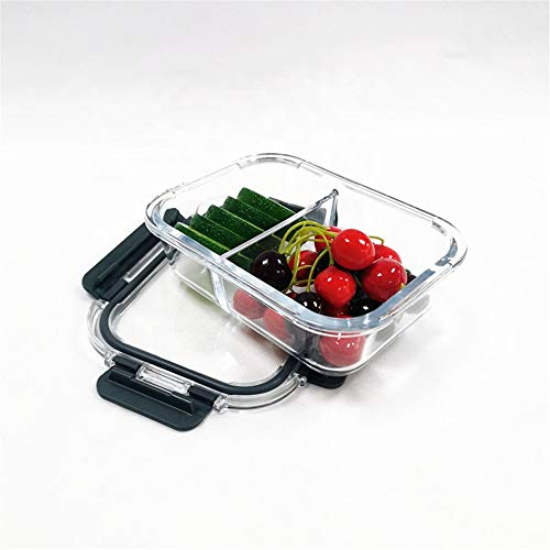 Airtight Glass Food Containers with Lid 1520ml Freezer to Oven Safe - Glass Meal Prep Lunch Box Takeaway Containers 2 Compartments-Large Capacity. Newly Innovated Hinged Locking Lid- BPA Free