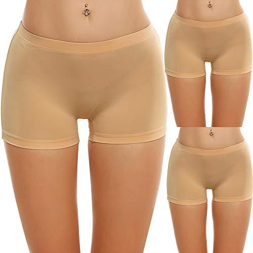 Ekouaer Boyshort Panties Women's Soft Underwear Briefs Invisible Hipster 3 Pack S-XXL Nude-3 Pack)