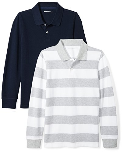 Amazon Essentials Little Boys' 2-Pack Long-Sleeve Pique Polo Shirt, Grey/White Rugby Stripe/Navy, XS (4-5)