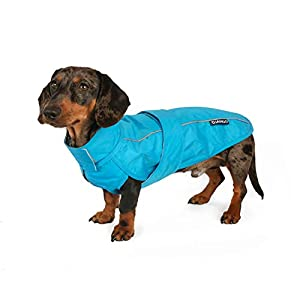 DJANGO City Slicker All-Weather Dog Jacket & Water-Repellent Raincoat with Reflective Piping