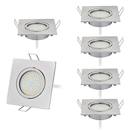 HCFEI 6er set LED 4W Slim Spot Einbaustrahler Schwenkbar 230V Edelstahl Strahler Einbauleuchte, Eckig, Warmweiß 3000K, Einbautiefe 20mm