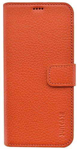 Suncase Huawei P9 *ECHT Leder* Book-Style Ledertasche Tasche Original Handytasche Hülle Etui Hülle in orange