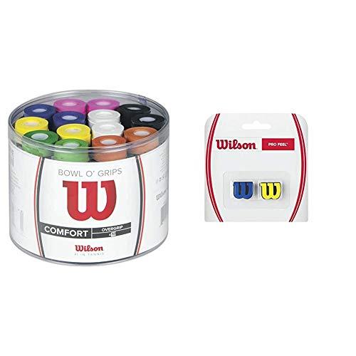 Wilson Bowl Overgrip, Unisex, Multicolor, Talla Única + Pro Feel Antivibrador Raqueta-Unisex, Amarillo/Dorado, NS