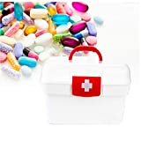 AOTENG STAR Family Emergency Kit Storage Box First Aid Medicine Clear Container Bin Detachable Tray