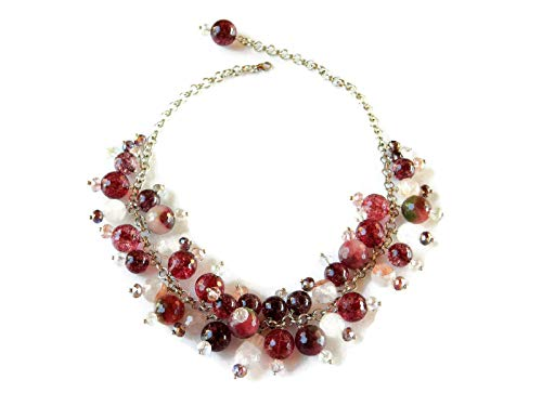 Collana girocollo con pietre rosa e rosse e cristalli Swarovski multicolore