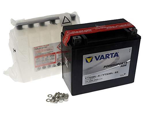 Batería Varta Powersports AGM YTX20L-BS / YTX20L-4 para Yamaha YMF5FG Grizzly 550 ccm 12 [Incluye depósito de batería de 7,50 €]
