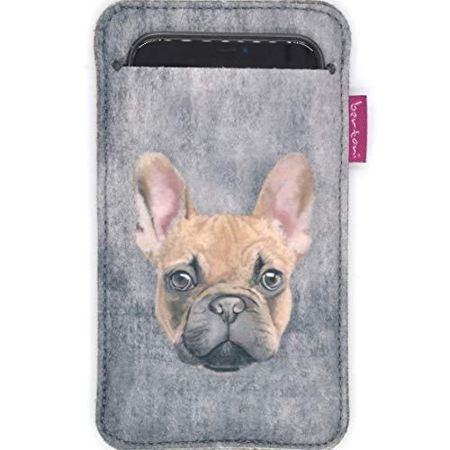 Bertoni - Funda de fieltro compatible con iPhone 12/12 Pro/11/11 Pro/X/XR/XS, Galaxy S21/S20/S10/S9/S8/A40, P30, P20 Phone Cover Perro Diseño Funda para Smartphone (Titus)