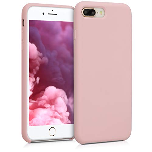kwmobile Hülle kompatibel mit Apple iPhone 7 Plus / 8 Plus - Handyhülle gummiert - Handy Case in Peach Skin