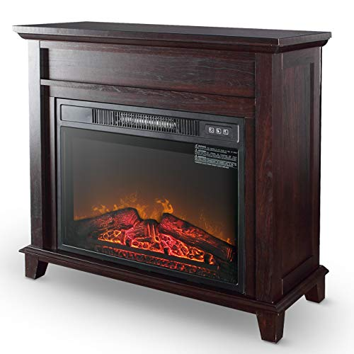 """Della 32"""" Electric Freestanding Wooden Mantel Firebox 3D Flame with Logs Heater Adjustable Flame with Remote Control"""