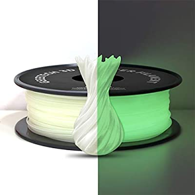 Luminous PLA Filament 1.75mm Gray White, Glows Green in the Dark, GEEETCH 3D Printer Filament 1kg Spool