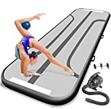 SereneLife Gymnastics Inflatable Air Tumbling Mat - 13 Ft Outdoor/Home Indoor Gymnastics Mat Air Track Tumbling Mat - Floor Tumble Track Mats for Gymnastics, Yoga, Cheerleading SLGM4KB (Black)