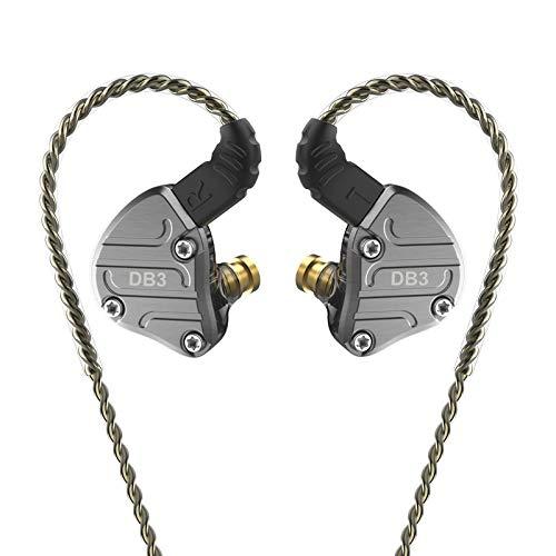 NICEHCK DB3 ダイナミックドライバー2基+バランスドアーマチュア型ドライバー1基 カナル型イヤホン 亜鉛合金フェイスプレート 2PIN リケーブル ハイブリッド 錫メッキ銅ケーブル 耳掛け式 3.5mm L型プラグ 2DD+1BA 低音 高遮音性 HIFI (マイクなし, 黒 DB3)