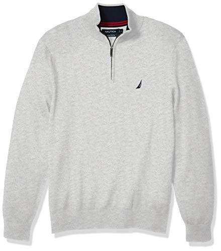 Nautica Men's Navtech Quarter-Zip Sweater, Medium Grey Heather