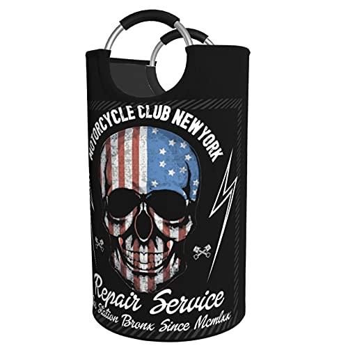 Cesta de lavandería con diseño de esqueleto de la motocicleta del club de Nueva York, impermeable, portátil, plegable, bolsa de almacenamiento para el baño decorativo