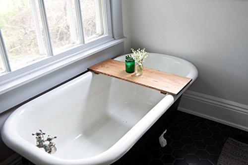 Oak Bathtub Tray - Bath Tub Caddy Natural Wood Rustic Modern Decor Bathroom Handmade