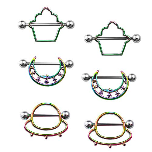 LIZD Jewelry Nipple Rings Piercing Surgical Steel Nipple Barbells 14G Nipplerings Piercing Jewelry for Women Men (Multicolor-Style 1)
