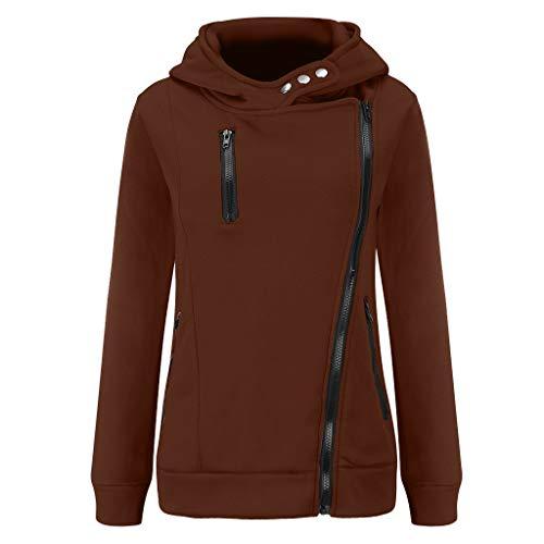 HULKY Kapuzenpullover Damen mit Kapuze Sweatshirt Patchwork Beiläufige Hoodie Reißverschluss Herbst Winter Blusen Einfarbig Tops (Kaffee,S)
